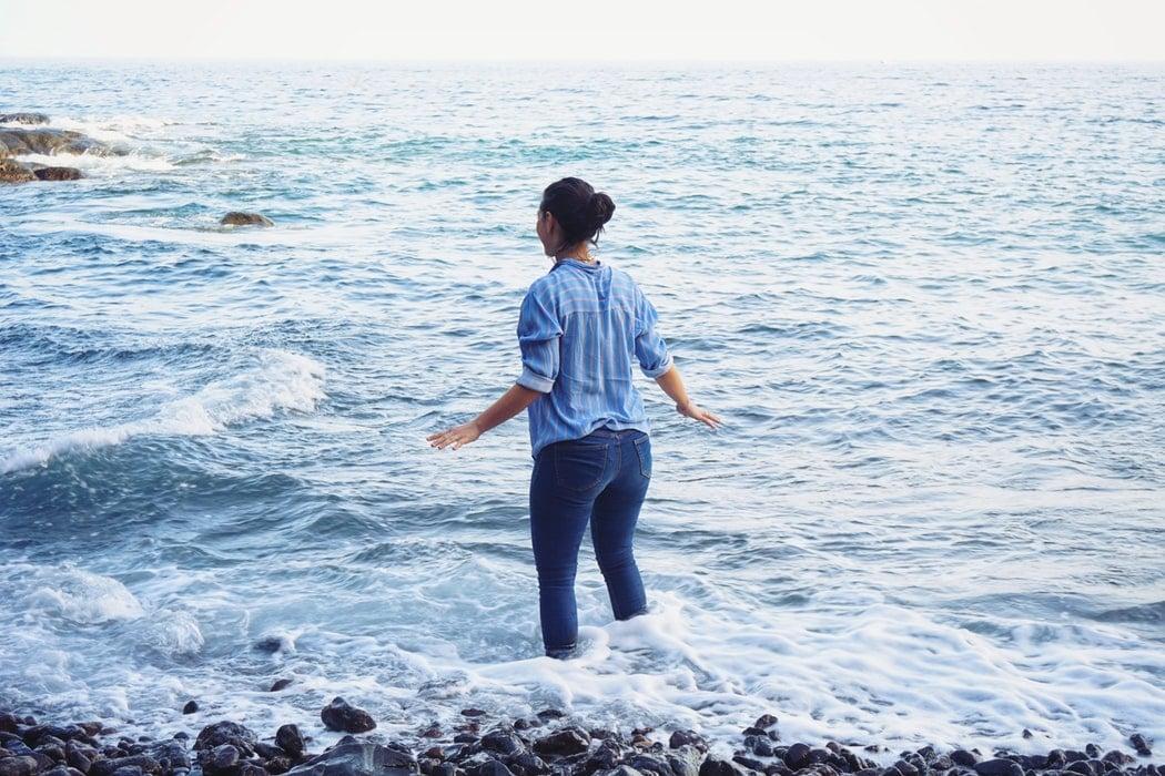 mer vacances jean slim océan vague chemise