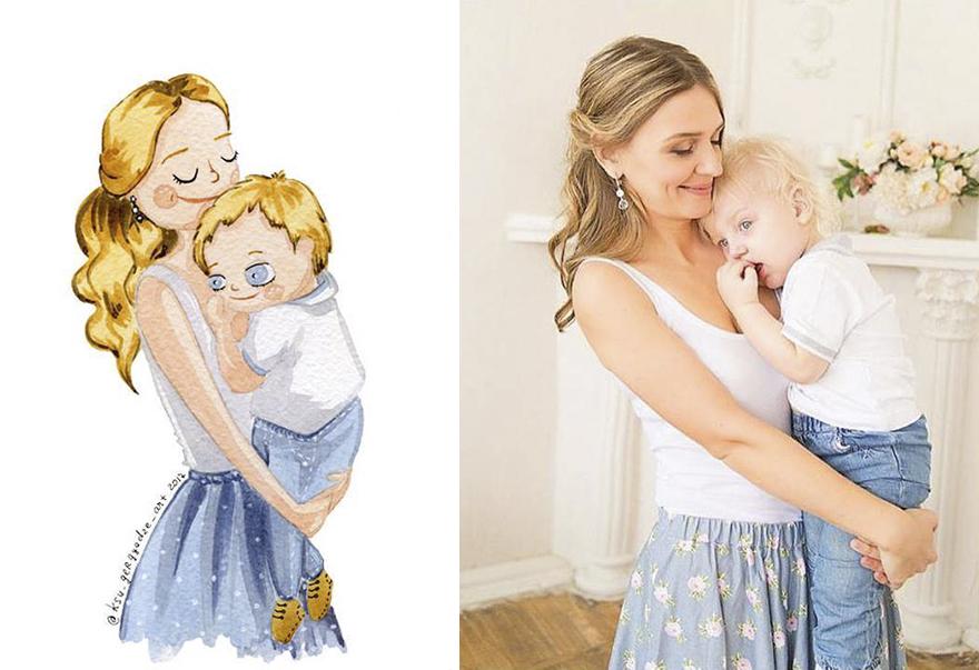 avant après personnages BD filles maman enfant