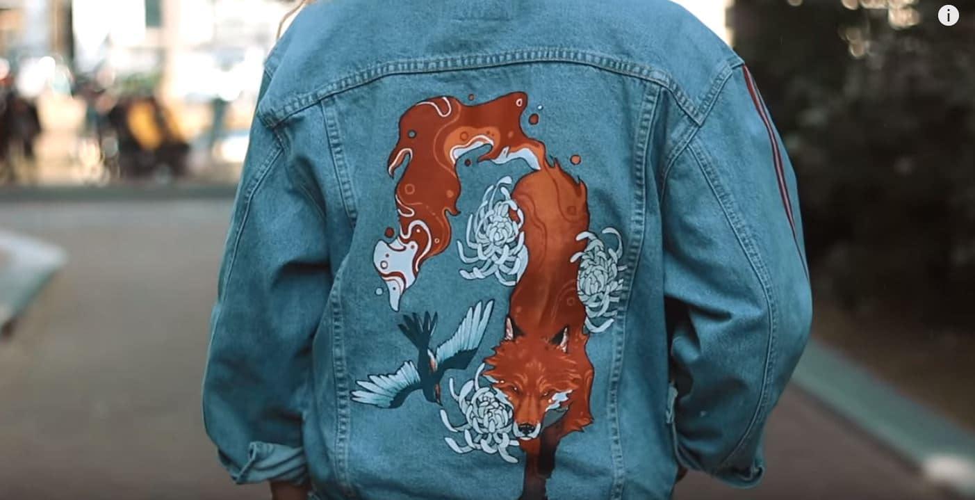 peindre motif veste en jean