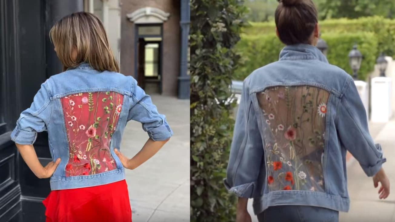 veste en jean ajourée personnalisée transparente