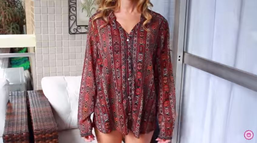 chemise trop large transformée en robe bustier astuce