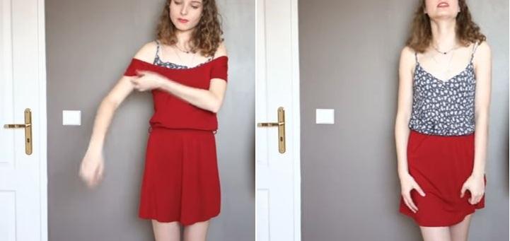robe transformée en jupe vêtements double emploi