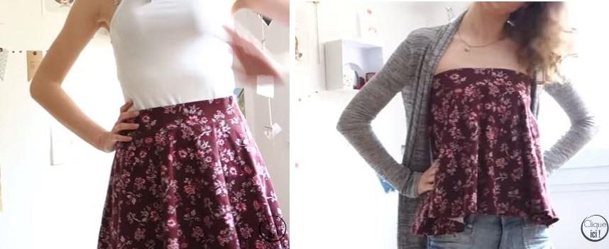 transformer une jupe en crop top