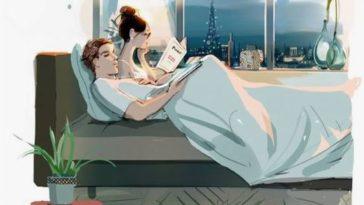 couple la nuit au lit lire dormir