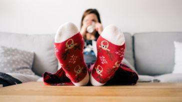 chaussettes hiver chaud canapé