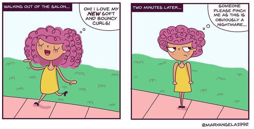 dessins humour cheveux bouclés boucles bd problèmes