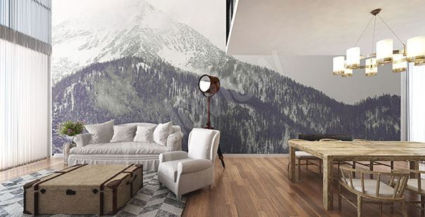 papier peint montagne salon