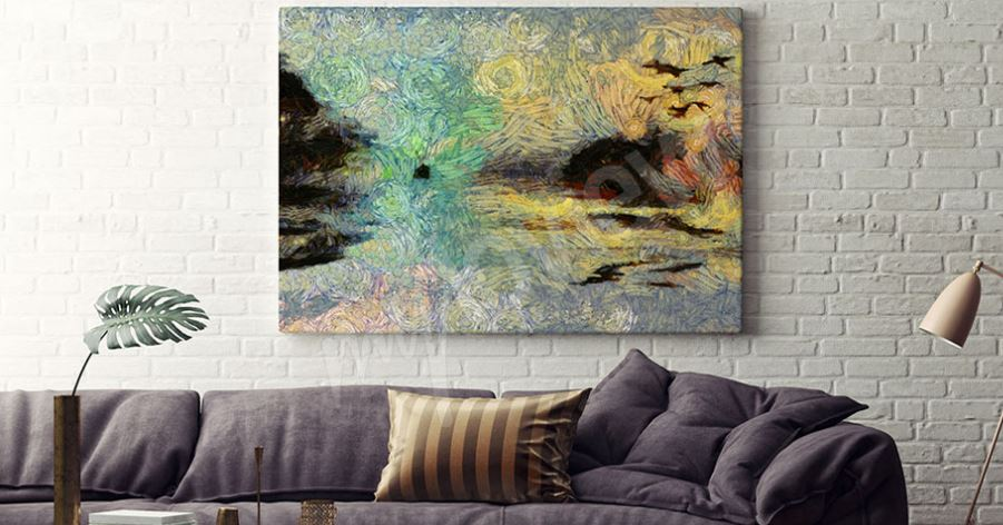 tableau salon canapé mur décoration