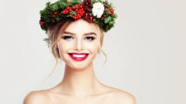 coiffures de fêtes cheveux Noël couronne fleurs