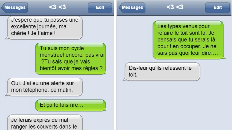 textos de couples hilarants SMS