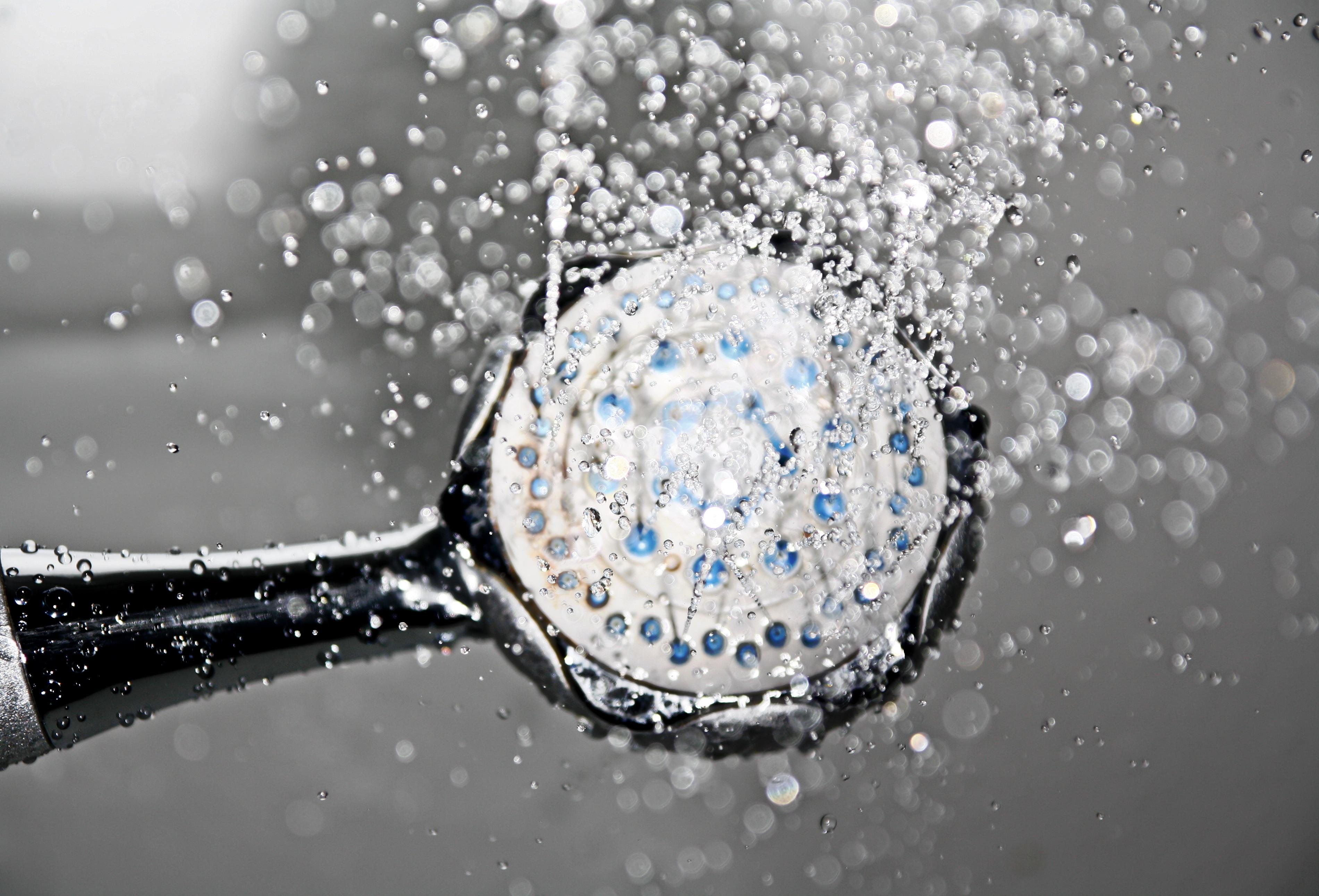 eau de la douche pommeau