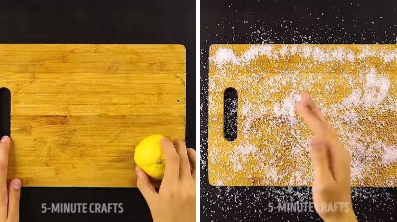 astuces ménage nettoyage propreté citron planche à découper