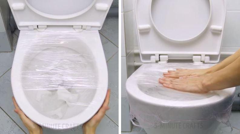 nettoyer ses toilettes WC cuvette astuce papier film