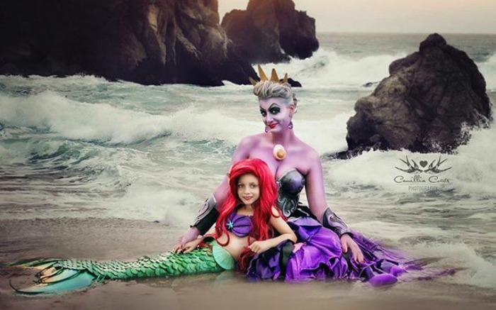 mère fille photos Disney plage Ariel la petite sirène