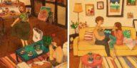 moments de couple appartement cocon dessins illustrations