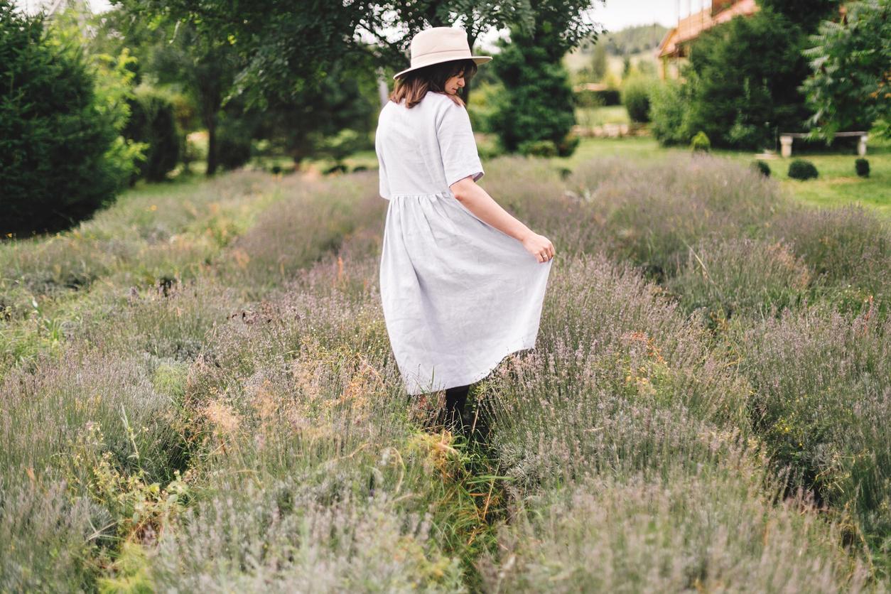 lin femme robe champs mode vêtement