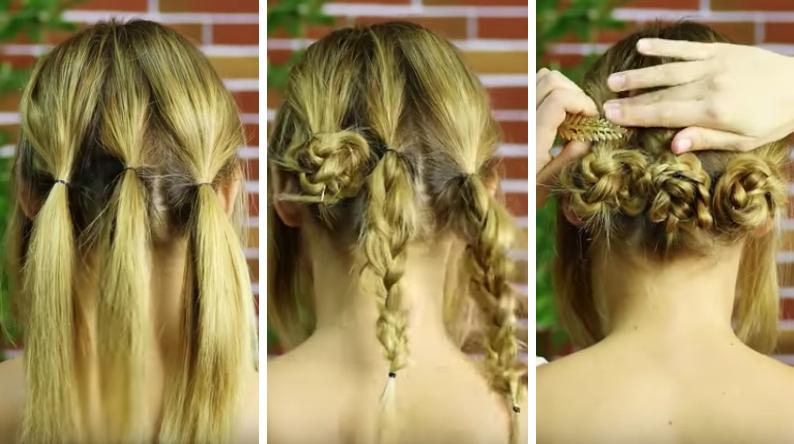 coiffures d'été buns tressés