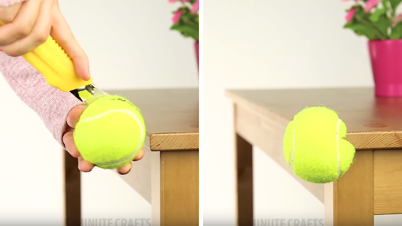 astuce balle de tennis pour protéger les coins enfant