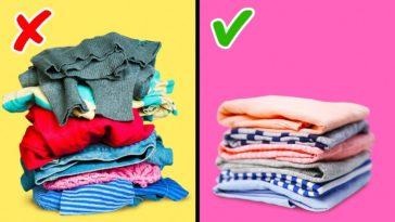 vêtements rangés avant après
