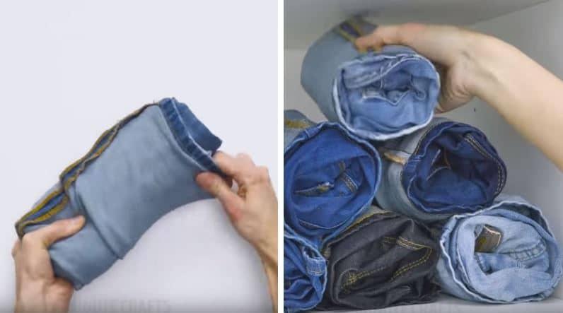 rouler son jean pour gagner de la place dans sa penderie