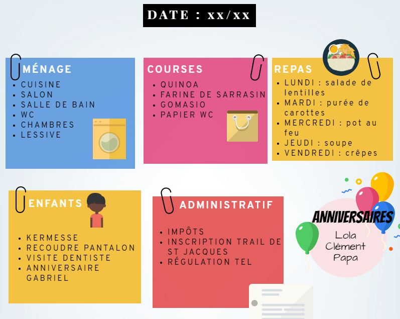 tableau d'organisation des tâches planning