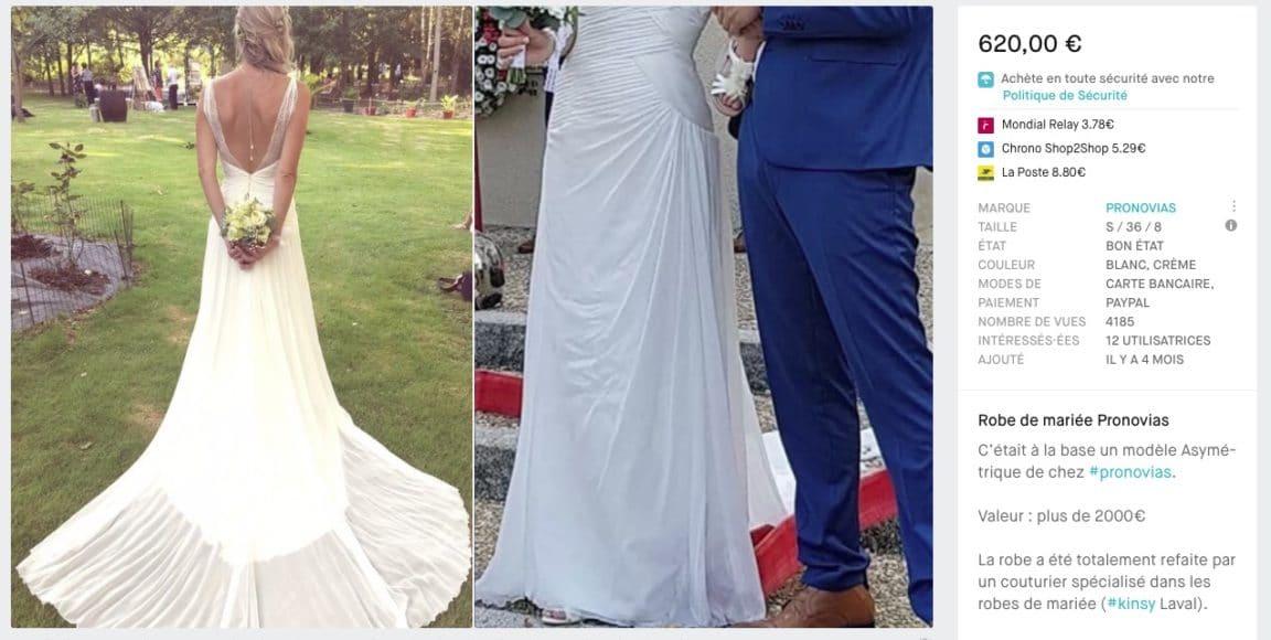 robe de mariée occasion Pronovias pas chère moins dépenser mariage