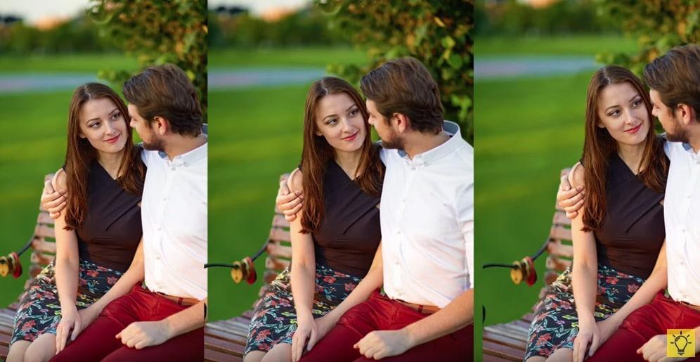 amoureux assis sur un banc