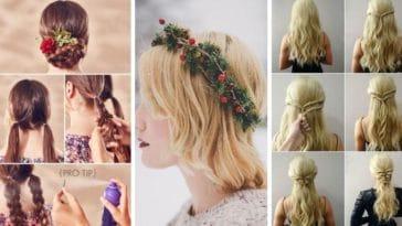 coiffures de fête cheveux Noel jour de l'an premier réveillon
