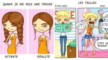 attentes réalités désillusions filles dessins humour