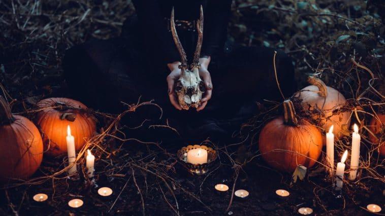 sorcière Halloween sorcières citrouilles bougie