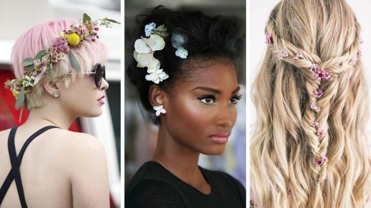 coiffures printemps idées fleurs