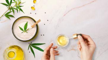 cosmétiques bienfaits peau plante CBD THC pipette cosmétiques chanvre cannabis