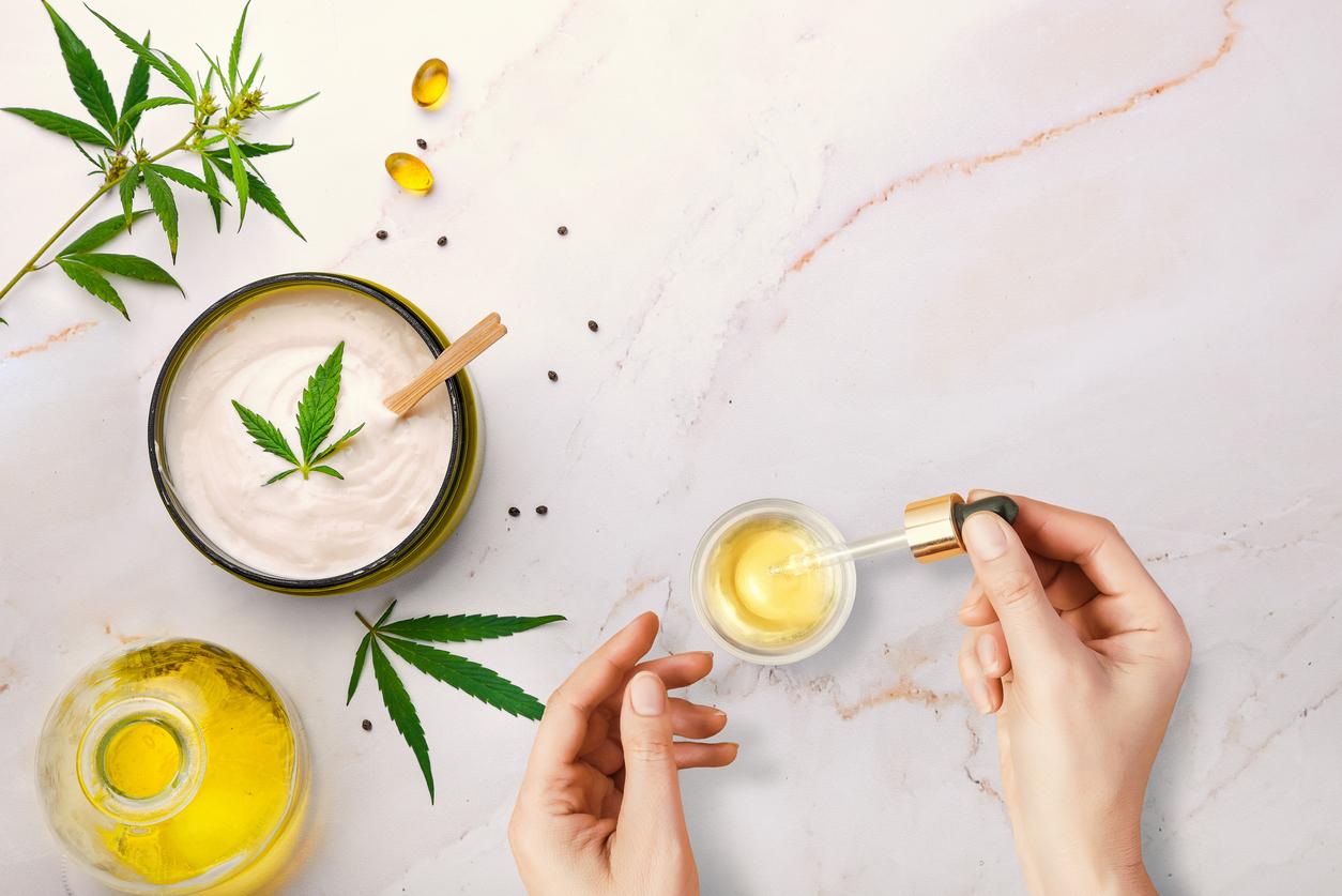 plante CBD THC pipette cosmétiques chanvre cannabis