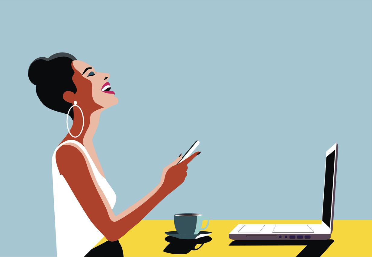 femme reprise rentrée travail PC ordi boulot bureau dessin