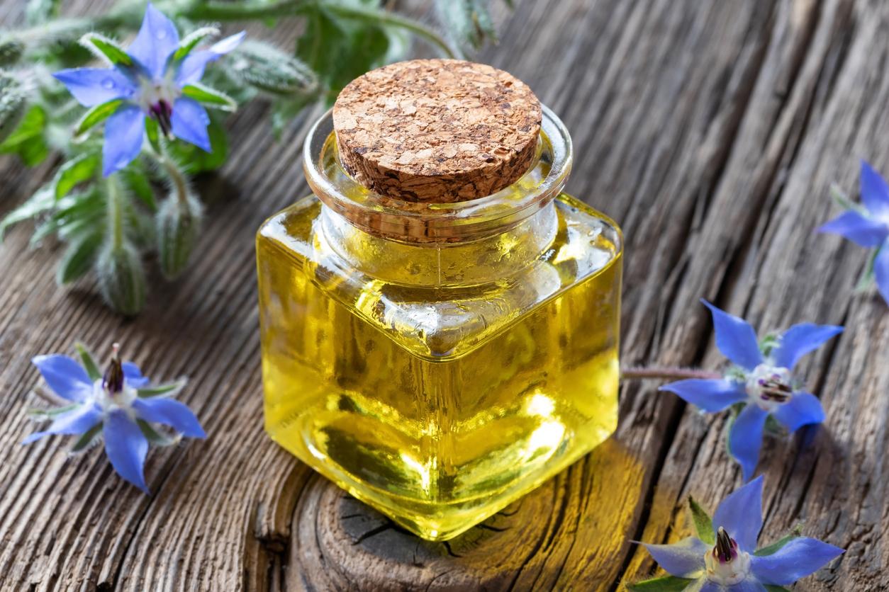 fiole bouteille huile onagre fleurs peau antirides naturel
