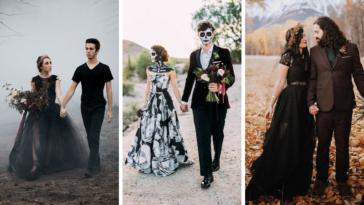 Mariage Halloween couples insolite automne mariés