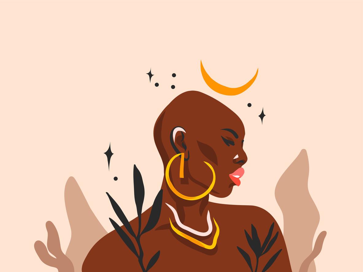 femme vaudou noire couleur sorcière dessin